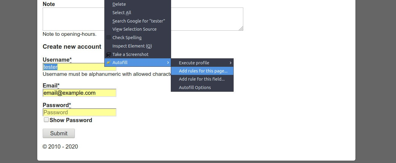 Autofill - save the form by right-click menu
